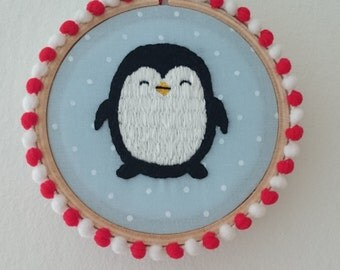 """3"""" Hand-Embroidered Hanging Christmas Decoration - Penguin"""