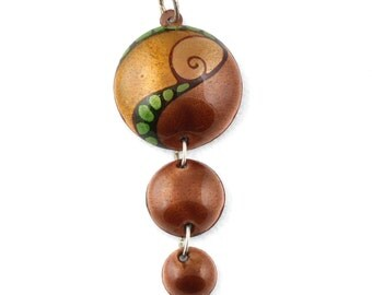 Earth colour enamel on copper necklace
