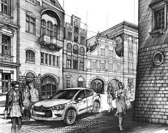 ORIGINAL Street Drawing By Katarzyna Kmiecik Urban Sketch Architectural Art Black Ink
