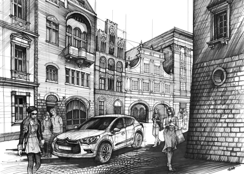 house drawing original pencil artwork architecture art original street drawing by katarzyna kmiecik urban sketch architectural art black ink drawing
