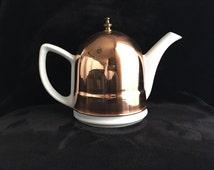 vintage ceramic teapot with copper warmer, copper warmer tea cozy, Baker Hart and Stuart teapot with copper insulated cover, copper tea cozy