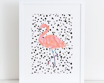 Flamingo Pink A5 & A4 Printable Art Pink Gift Ideas Flamingos Flamingo Watercolor Polka dot Flamingo Art Flamingo Print Flamingo Wall Decor