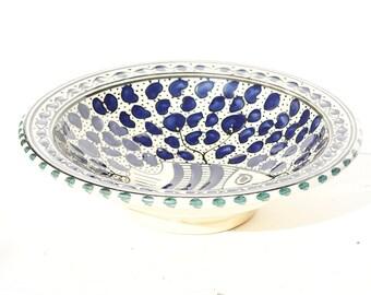 Blue Fish Plate, Fish Soup Bowl, Enameled Fish Bowl, Enameled Plate, Fish Plate, Blue Plate