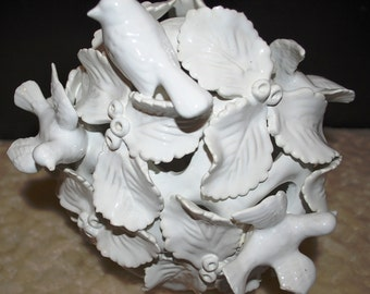 1960's Italian White Porcelain Basket with Birds on Leaves, Beautiful!