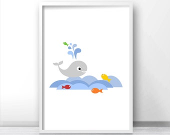 Whale Nursery Wall Art Print, Under The Sea Nursery Print, Ocean Kids Decor, Under The Sea Kids Wall Art, Digital Download Nursery Art Print