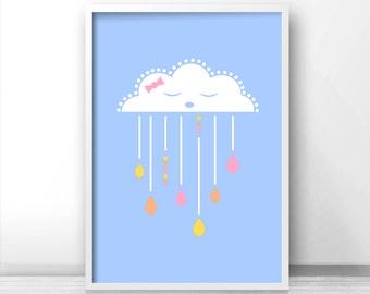 Girl Nursery Art Print, Cloud Nursery Wall Art,  Baby Girl Nursery Cloud Art, Printable Nursery, Little Girls Room Wall Print, Baby Girl Art