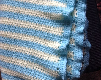 Blue and yellow striped baby blanket