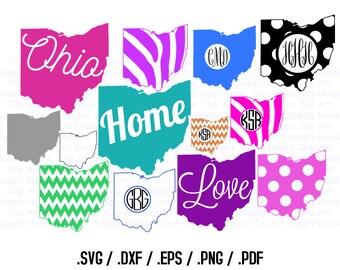 Ohio Clipart, State Outline PNG, State Decor, Buckeye SVG Files, Vector Art, Cricut Design Space, Silhouette Digital Cut Files - CA339