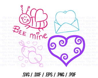 Valentine Day SVG Clipart, SVG Office Wall Art, DXF Holiday File for Vinyl Cutters, Screen Printing, Silhouette, Die Cut Machine, Holiday