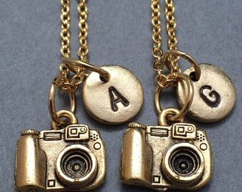 Best friend necklace, camera necklace, photography necklace, bff necklace, sister, friendship jewelry, personalized, initial, monogram