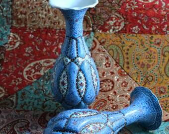 Blue/Turquoise Handcrafted Enamel/Mina Vase