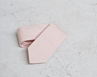 Light Dusty Blush Linen Skinny Tie