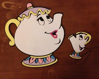 Mrs Potts and Chip from Beauty and the Beast die cut