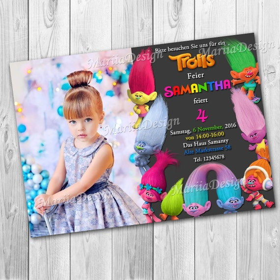 Trolls Photo Birthday Invitation