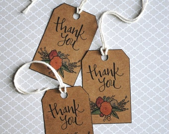 Rustic Floral Thank You Gift Tags Printable
