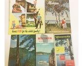 Vintage Minnesota, Michigan, and WI Highway Travel Maps
