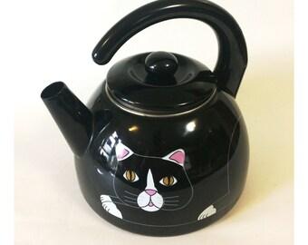 Vintage Enamel Cat Tea Kettle