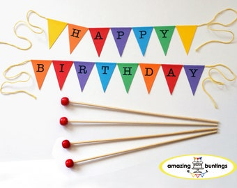 Happy Birthday Cake Bunting Topper, Rainbow, Circus, Carnival.Smash Cake Topper, Photo props.FREE delivery UK orders