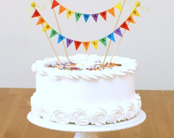 Congratulations, Rainbow Cake Bunting Topper, Cake Decoration