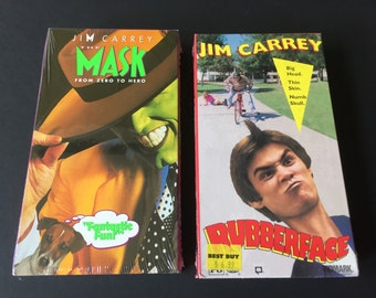Jim Carrey the mask VHS, Jim Carrey rubber face VHS, jim carrey movie collection, vintage comedy vhs, the mask movie, vhs tapes new