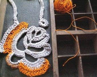 Paper yarn, yarn  necklace, crochet necklace, cotton yarn, free form crochet, orange yarn