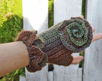 Gloves, Accessories, Green/brown/orange,Women, Fingerless,Crochet wool and acrilic gloves, Freeform crochet, gift ideas, Rose, winter trends