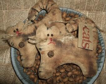 Primitive Pair Kitties CATS Bowl Filler Ornies Rustic Folk Art OFG HAFAIR Teams