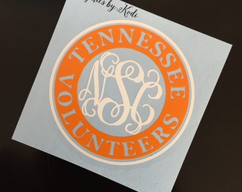 Tennessee Volunteers Decal - Monogrammed Decal - Tennessee Vols - Sticker