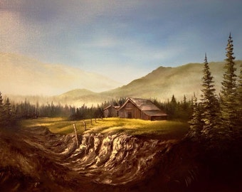 Cabin Farm Oil on canvas Painting 24x18""