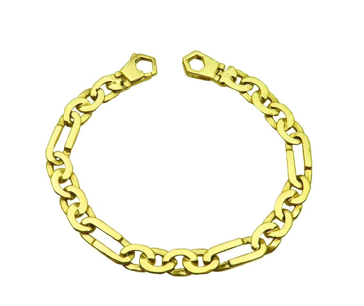 s solid 14k yellow gold fancy link bracelet
