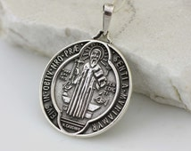 Sterling Silver Saint Benedict Medal, Sterling Silver Saint Benedict Necklace, Silver St. Benedict Oxidized Medal XL , Medalla San Benito