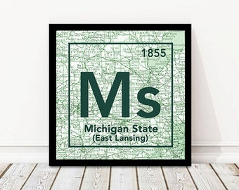 Michigan State University Spartans East Lansing Michigan Vintage Periodic Map UNFRAMED ART PRINT, Christmas gift for her, Christmas ideas