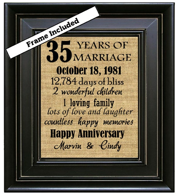 35 Wedding Anniversary Gifts For Parents: FRAMED 35th Wedding Anniversary/35th Anniversary Gifts