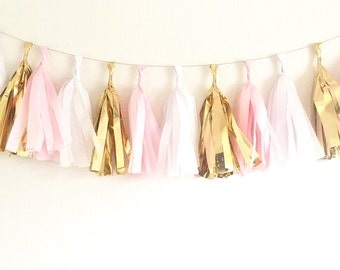 Blush Pink Gold White Tassel Garland Pink and Gold First Birthday Tissue Tassel Garland Pink and Gold First  Pink and Gold Party Bridal