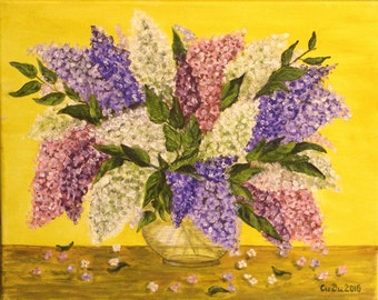 "Lilacs in vase-Flowers- 41cmX33cm(16""x13"" approx.)-Original Paiting-Oil on Canvas-Handmade Paiting by Silvia Dimova"