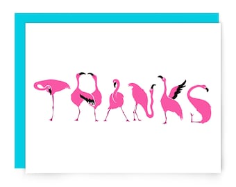 Flamingo thank you card - cute flamingos - illustrated greeting card - pink birds - lettering - thank you card - nerdy card - blank card