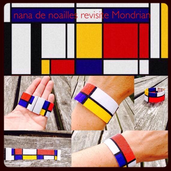 Bracelet Manchette  Perles de rocailles Miyuki Tissées / collection Mondrian