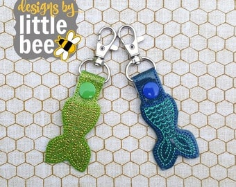 mermaid tail key fob snap tab keychain embroidery applique design monogrammed Instant Download bean stitch,