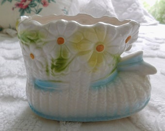 Vintage Relpo Ceramic Baby/Nursery Planter/Baby Bootie