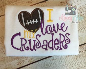 I love my crusaders shirt, UMHB football shirt, toddler or little girl, football heart shirt