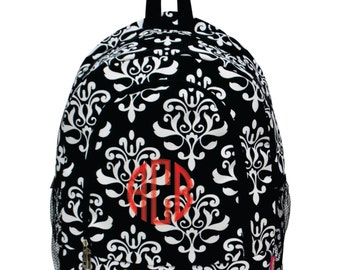 Monogram Backpack Black and White Shabby Damask