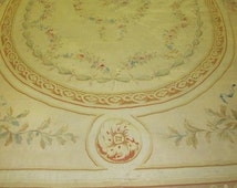 Antique Decorative French Aubusson Rug.9'6''x14'
