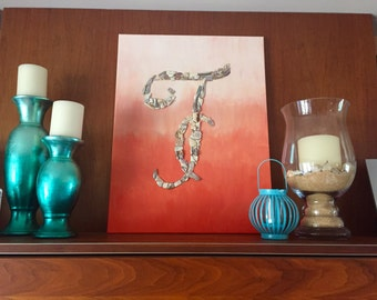 Ombre Painting with Shell Monogram