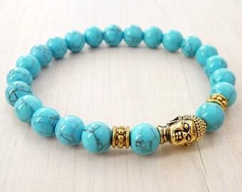 Turquoise Bracelet Buddha Bracelet Healing Bracelet Stretch bracelet Yoga Jewelry Turquoise Howlite Beads, Meditation buddhist bracelet