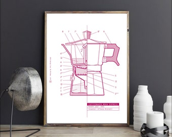 Coffee Maker Moka Express. Patent. Poster - Print  Icon design industrial. 19,68 in x 27,5 in
