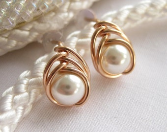 White Pearl and 14K Rose Gold Filled Stud Earrings by The Celtic Elf / 14K Rose Gold Filled Swarovski Pearl Studs, Wedding Earrings
