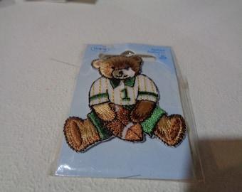 Football player teddy bear applique