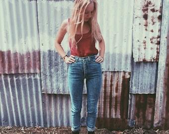 Acid Wash High Waisted Blue Denim Skinny Jeans 90s