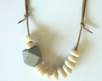 Handmade clay beaded necklace.