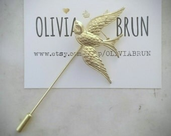 Bird Stick Pin Gold Bird Pin Sparrow Pin Gold Bird Brooch Gold Brooch Animal Brooch Sparrow Jewelry Woodland Wedding Accessories